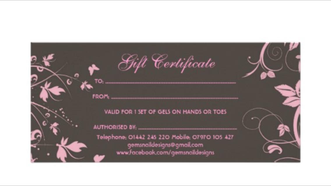 Gift Vouchers   gems nail designs